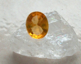 Orange faceted Crystal cabochon