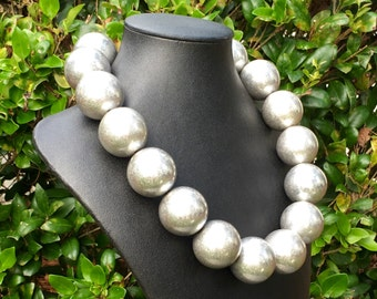 HUGE Silver Ball Necklace VINTAGE Looking Silver Bead Necklace LARGE 30mm Round Silver Beads - Glamorous, Festive, Holiday, Statement