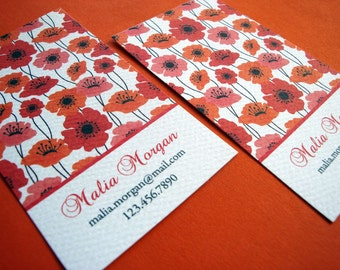 Red Poppy Business Card Calling Card - Set of 50