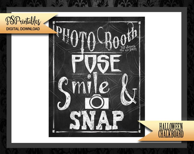 Halloween Wedding Photo Booth - Halloween wedding - halloween photo booth - spooky sign - halloween printable - gothic wedding - photo booth