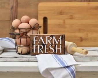 Farm fresh farmhouse sign - rustic plaque - farmhouse decor - housewarming gift - simple sign - small sign - kitchen sign