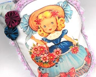 Pollyanna Pocket Pillow Handmade Children's Literature Little Girl's Room Bedding Decor Watercolor Print Heart Lace Hand-Sewn Satin Rosettes