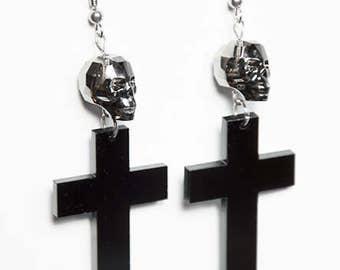 Black Cross Earrings with Silver Night Swarovski Crystal Skulls