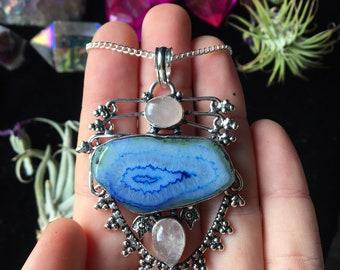 Blue Solar Quartz & Rose Quartz Necklace (925 Stamped Pendant)