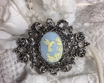 J Rose Boutique cameo Large 15x18mm BLUE ANtique white  Hummingbird Brooch boutique wedding