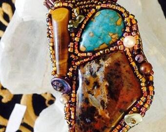 Beaded pin, brooch, tiger eye, turquoise, agate, pearls, semi-precious stone, handmade brooch
