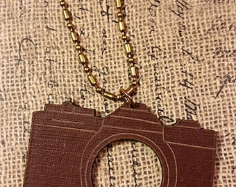 Camera engraved book - Necklace Jewelry Book Recycle