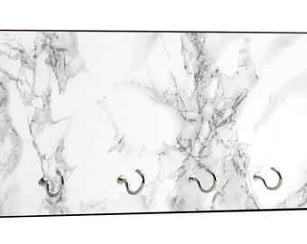 "Marble Print - 5"" by 11"" Key Hanger Household Decoration with Four Hooks"