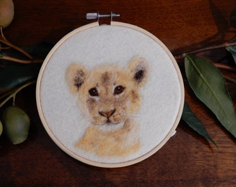 Needle Felting Portrait - Lion Cub - Merino Wool - Painting with Wool