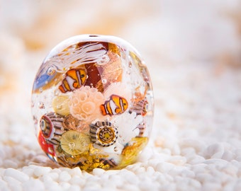 Brown, Gold, Orange Marine Aquarium Lampwork Glass Bead with Little Fish and a Jellyfish Inside.
