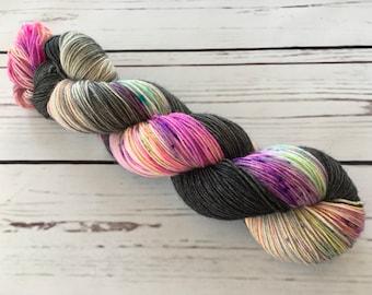 Midnight Rave Hand Dyed Superwash BFL/ Nylon Sock Yarn