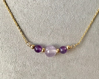 YELLOW GOLD Petite Amethyst Bar Necklace