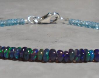 Opal Bracelet, Black Opal Bracelet, Ethiopian Opal Bracelet, October Birthstone, Gemstone Bracelet, Fiery Opal, Dainty Beaded Bracelet