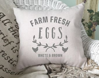 Farm Fresh Eggs Pillow Cover, Farmhouse Pillow Cover, Throw Pillow Cover, Farmhouse Decor, Hand Painted Pillow Cover, Rustic Home Decor 2603