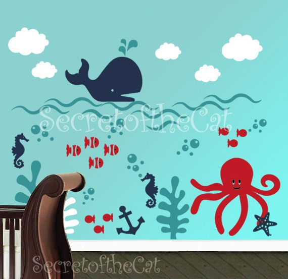 ?zoom  sc 1 st  Etsy & Wall decals nursery Nursery wall decal Underwater decal
