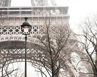 Paris Photograph - Eiffel Tower with Street Light, Large Wall Art, French Home Decor, Travel Photography, Paris Art Print