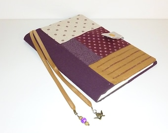 Notebook and its cover fabric in shades of plum and linen, Angel bookmark