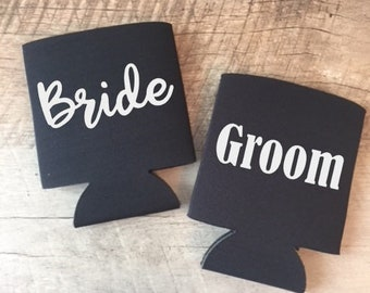 Bride and Groom Can Coolers - Bride and Groom - Custom Can Coolers - Bride & Groom Can Coolers - Honeymoon Can Coolers - Honeymoon