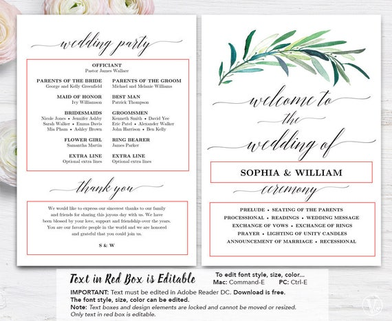 Greenery Wedding Program Template Printable Wedding Programs - Free printable wedding program templates
