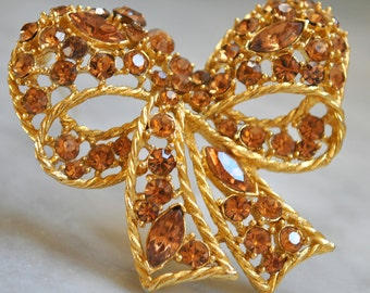 Gold Bow Brooch with Amber Rhinestones - SALE