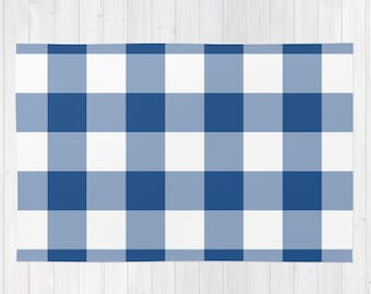 blue rug, lake house decor, plaid rug, checkered rug, rustic rug, cabin decor, lake decor, large rug, 2x3  3x5 choose 30 colors