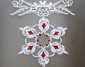 White and red snowflake, Paper snowflake, Snowflake ornament, Christmas ornament, Christmas quilling, Christmas snowflake, Christmas decor