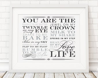 8x10 Love of My Life You Are The Peanut to My Butter Printable Quote Poster Gift - Wedding Paper Anniversary, Husband, Wife, Valentine's Day