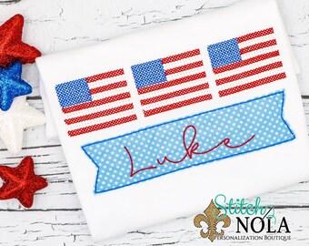 American Flag Trio Applique, USA Applique, Patriotic Applique, Fourth of July Shirt, Memorial Day Shirt,