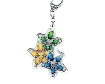 "NEW 2.5"" inch Kingdom Hearts GLITTER Cluster Aqua Terra Ventus Wayfinder Star Glitter Keychain Mobile Phone Strap Charm"