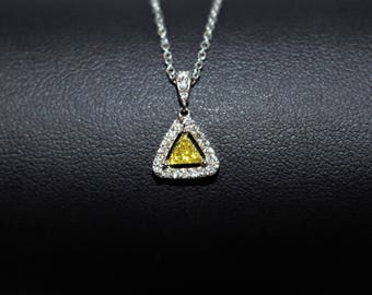 Triangle Necklace, Triangle Pendant, Yellow Diamond Necklace, Diamond Necklace, Geometric Necklace, Yellow Necklace, Gold Pendant Necklace