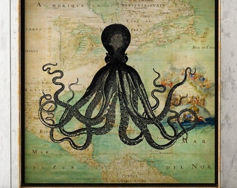 Octopus on map poster, octopus in map print, sea map, octopus print, marine wall art, beach home decor, wall decor, room decor, square