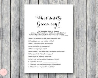 What did the Groom Say Game, What did groom say about Bride, How well couple know each other, Couples shower Game, Bridal TG00 TG08 TH00