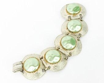1960s White Enamel Link Bracelet | Green Pearl-like Circles