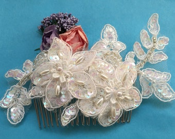 Beaded Lace Bridal Comb, AB Colored Sequins Bridal Lace Comb, Bridal Hair Piece, Bridal Hair Accessory, Wedding Hair Comb