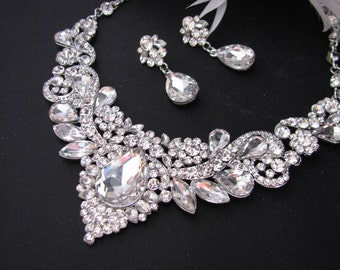 Sparkle Statement Wedding Necklace Silver tone Great Bridal Wedding Jewelry Pageant Jewelry Bridal Statement   Set Vintage Style