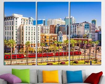 San Diego Canvas San Diego Skyline San Diego Print San Diego Photo San Diego Poster San Diego wall art Gaslamp Quarter California Cityscape