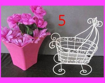Set of 5 Antique Wire Baby Carriages  - Great for Baby Shower or Christening Decorations