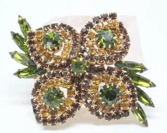 Vintage Rhinestone Floral Brooch Pin Green Amber Brown Prong Set Stones Gold Tone