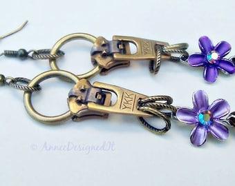 Purple  Petals,  Steampunk  Earrings