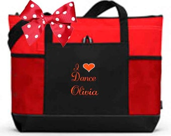 Personalized Black & Red Tote Bag Dance Gymnastics Tap Jazz Cheer