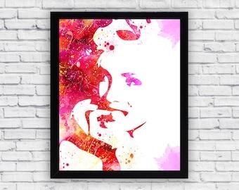Marilyn Monroe watercolor print, Marilyn Monroe Wall Art, Marilyn Monroe poster