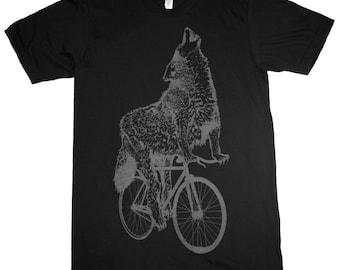 Wolf on a Bicycle - Mens T Shirt, Unisex Tee, Cotton Tee, Handmade graphic tee, Bicycle shirt, Bike Tee, sizes xs-xxl
