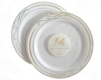 White with Gold Swirl Premium Plastic Plates - 20