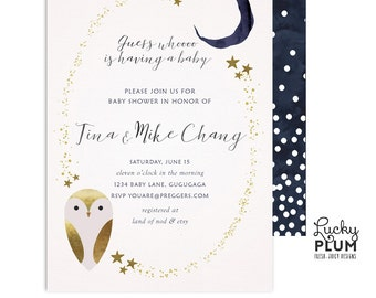 Owl Baby Shower Invitation / Star Baby Shower Invitation / Couples Baby Shower Invitation / Coed Baby Shower Invitation / Digital