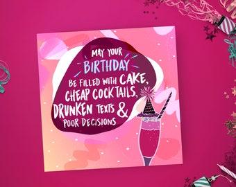 Funny Birthday Card, Sister card, Best friend Birthday card, Pink greeting card