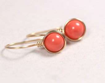 Gold Coral Earrings Wire Wrapped Jewelry Yellow Gold Earrings Rose Gold Jewelry Orange Coral Earrings Coral Jewelry Coral Swarovski Pearl