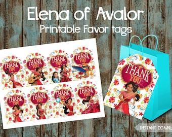 Elena of Avalor Favor Tags, Elena of Avalor Gift Tags, Elena of Avalor Thank You Tags, Elena of Avalor Tags, Elena of Avalor Birthday