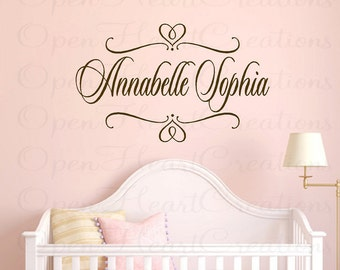 Girl Name Wall Decal - Personalized Shabby Chic Vinyl Wall Art with Heart Swirl Accents for Girl or Boy 22H x 36W FN0202