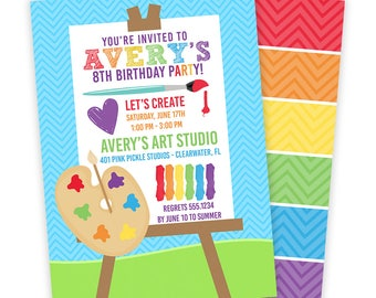 Art Party Invitation, Art Birthday Party, Art Party Invite, Paint Party Invitation, Kids Art Party, Art Invite Download,Art Invitation | 413