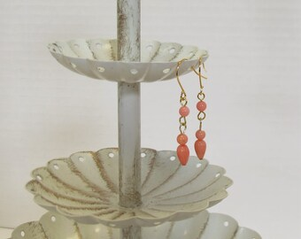 Genuine Coral Drop Earrings, Gold-Plated Earwires, Victorian, Civil War Appropriate - Affordable Elegance
